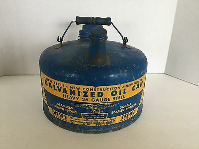 Vintage Eagle Model 401 Galvanized Blue Can 1 Gallon Oil Gas Kerosene USA