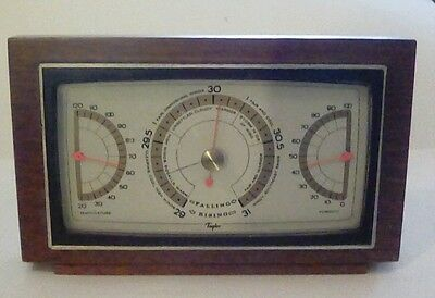 Vintage Taylor Mahogany Weather Station Humidity Barometer Temperature Desk Top