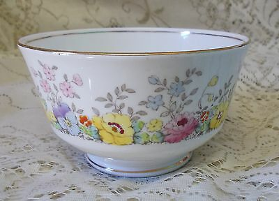 Vintage Crown Staffordshire Floral Pansy Open Sugar Bowl F15465 Made In England