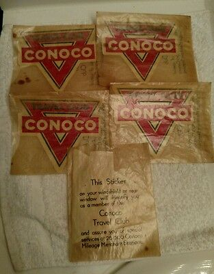 FIVE Vintage 1930s-1940s  CONOCO Travel Club Decals NEW OLD Stock ! RARE