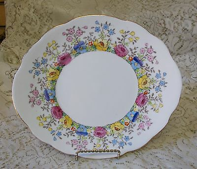 Vintage Crown Staffordshire Floral Pansy Cake Plate F15465 Made In England