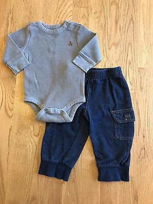 BABY GAP & OKIE DOKIE Size 3 - 6 Months Boys Bodysuit Shirt & Pants Jeans Outfit
