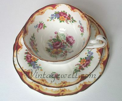 Adderley fine bone china trio tea cup,saucer,side plate England