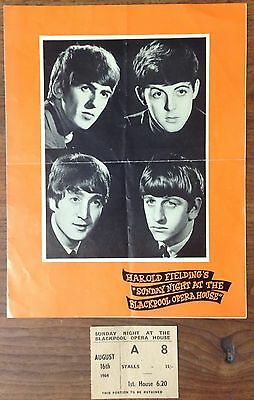 The Who High Numbers Beatles Blackpool Opera House Program W/Ticket Stub!!