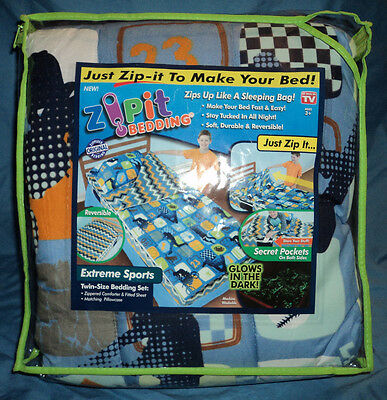 Zipit Kids Bedding, Zip It, Extreme Sports, Twin Size, Glows in the Dark, New