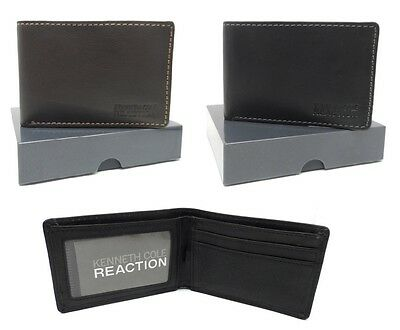 Kenneth Cole Reaction Men's Leather Front Pocket Billfold Wallet ID Card Window