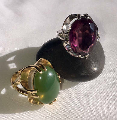 14K White Gold And 18K Yellow Gold Plated Purple And Green Stone Rings  Euc!
