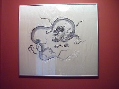 Stunning 19th C Embroidered Chinese Dragon Textile Wall Hanging Tapestry