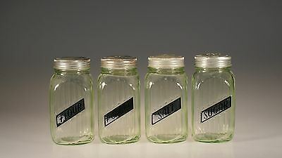 Set of 4 Vintage Hocking Glass Green Ribbed Range Shakers S&P Sugar Flour c1930