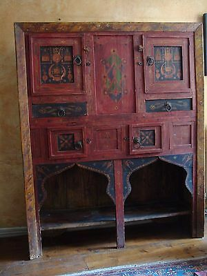 Beautiful Antique 19th C Large Painted Indian Cabinet Cupboard