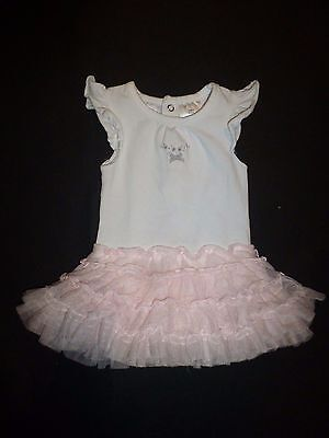 Koala Kids Boutique Baby Girls White Bodysuit Pink Tutu Romper Dress 3 Months
