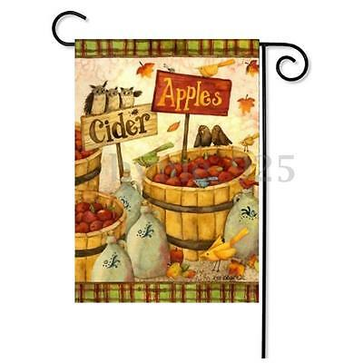 Welcome Rustic Cider & Apples Harvest Autumn Fall Garden House Flag 12''x18''