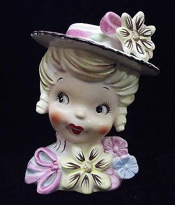 "5"" Head Vase Headvase Blonde Girl with Colorful Flowers Bow & Hat ~ Darling!"