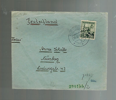 1943 Belusa Slovakia Kinder Land Verschickung Lager KLV Cover to Germany