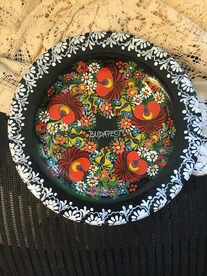 VINTAGE SOUVENIR COLLECTOR PLATE HAND PAINTED CLAY PLATE  BUDAPEST Jm91316