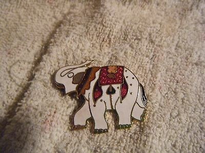 Elephant Pin Cloisonne Gold Plated with Enamel Color Blanket & Collar #3394J