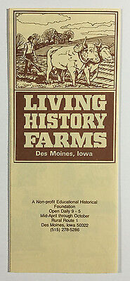 Living History Farms Vintage Brochure / Membership Form, Des Moines Iowa, 1977
