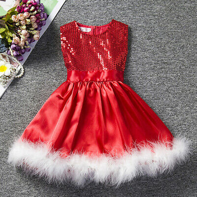 1-6Y Baby Girls Kids Xmas Party Red Bling Paillette Tutu Dress Clothes Christmas