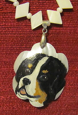 Bernese Mountain Dog hand painted on Mother of Pearl pendant/bead/necklace