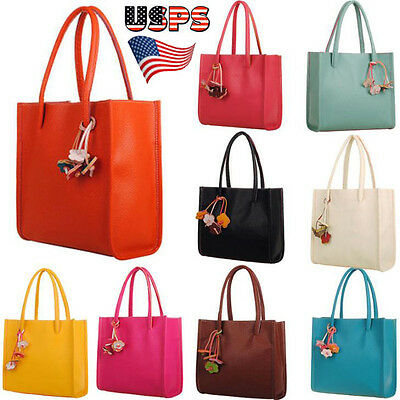 Us Women Leather Handbags Shoulder Bag Flowers Totes Purse Shopping Travel Bags
