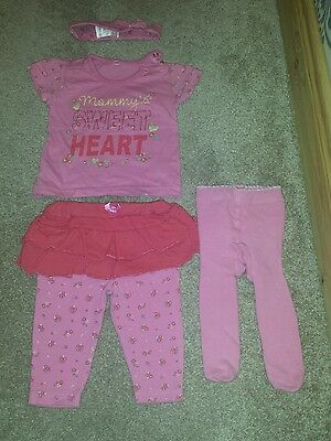 Girls set 0-3 months. 5 Pieces. Outfit & Tights