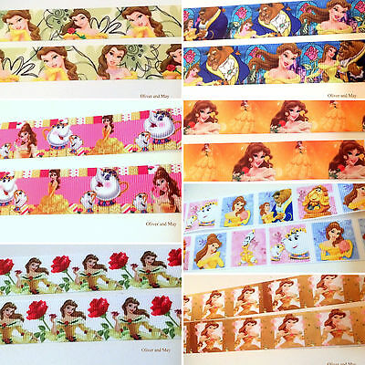 "Princess Belle Beauty And The Beast Ribbon 1"" 25mm FREE POST Australia"