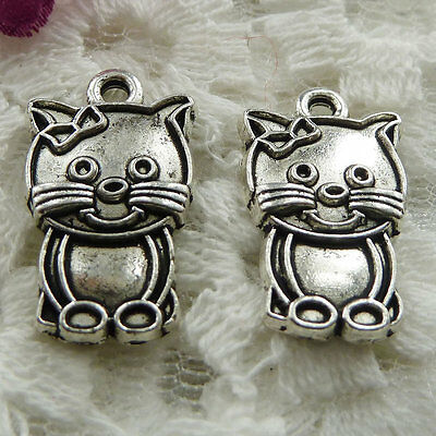 Free Ship 180 pieces Antique silver cat charms 20x12mm #401