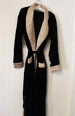 Vintage Victorias Secret Velvet and Gold Quilted Dressing Gown Robe