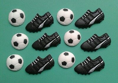 12 x EDIBLE FOOTBALL BOOTS AND BALLS CAKE TOPPERS (BLACK and SILVER)