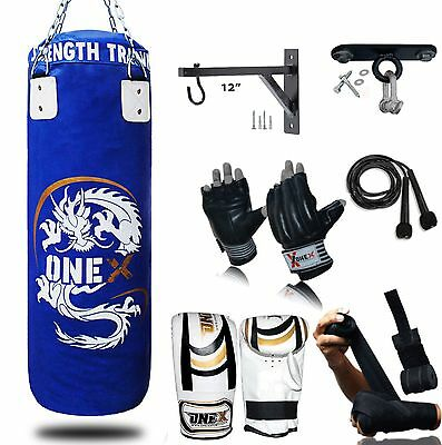 NEW 3FT Filled Heavy Punch Bag Buyer Build Set,Bracket,Gloves Free Hanging Chain