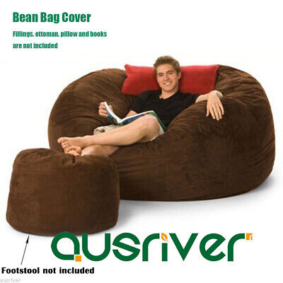 Soft Reading Movie Chair Couch Dia150cm Brown Suede Bean Bag Cover with Liner