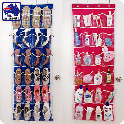 2pcs 24 Pockets Hanging Bag Display Storage Bags Shoes Shelf Organizer HDHA449x2