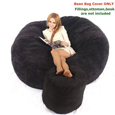 Black Living Room Bean Bag Cover Soft Suede Reading Relaxing Movie Chair Couch