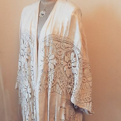 1920's Ivory Silk Opera Coat Kimono Wedding Dress Gown