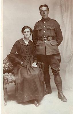 WW1 British Army Unknown Regiment Soldier With Wife  RP Postcard