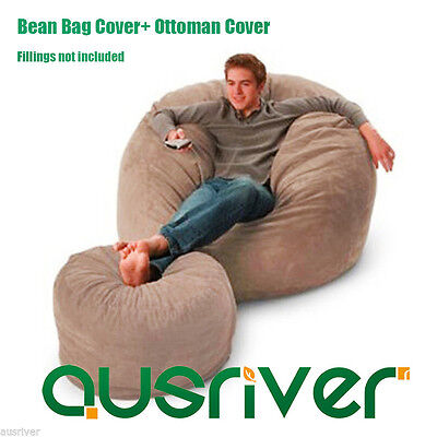Suede Bean Bag Cover+Ottoman Cover Set Luxury Seat Feeling Movie Chair Footstool