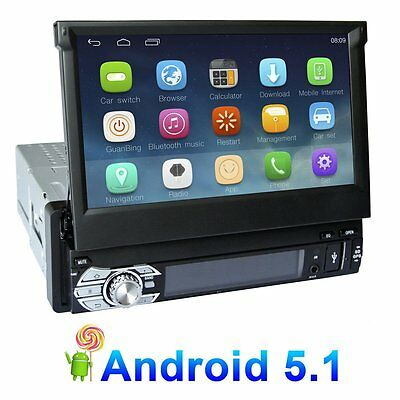 "7"" 1 DIN Android5.1.1 Car Radio RDS Motorized Bluetooth GPS Sat Nav 3G Wifi"