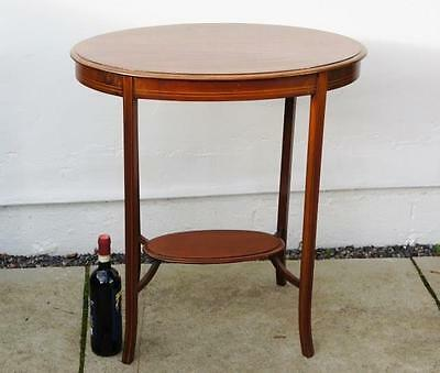 Edwardian inlaid Mahogany 2 tier oval occasional table VGC