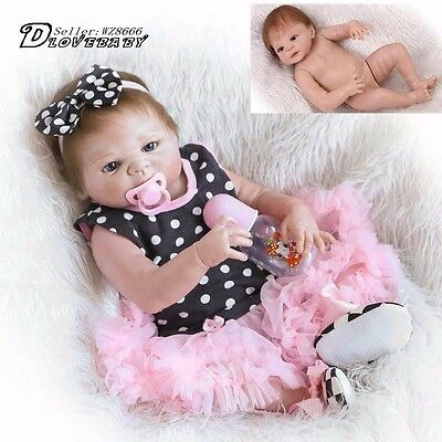 "23"" Handmade Full Silicone Body Baby Dolls Newborn Vinyl Reborn Lovely Girl Doll"