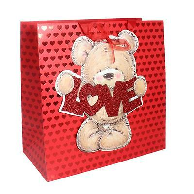Valentines Gift Bag, Tag & Bag Seal - LARGE - Red with Teddy Love