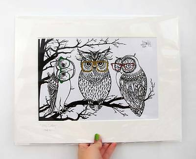 Owls in Hipster Glasses Limited Edition Print of Original Ink Drawing - Mounted