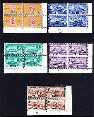 TONGA 1961 Postal Service Anniversary Set BLOCKS OF FOUR. SG 115 to SG 119 MNH