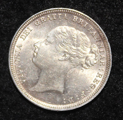 Queen Victoria 1883 Silver Sixpence 6d UNC