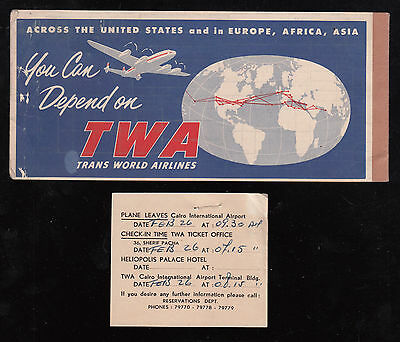 "Egypt  1954 Used "" Twa "" Passenger Ticket From Heliopolis Palace Hotel"