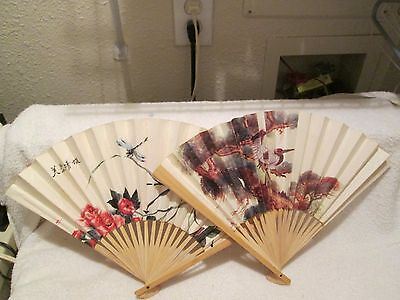 China Bamboo and Paper Hand-held lot of 2 Fans landscape birds floral AS IS