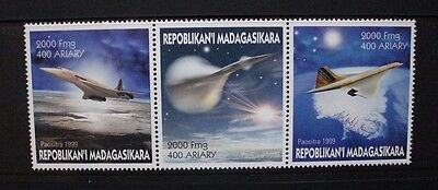MADAGASCAR 1999 Aviation Concorde. Strip of 3. Mint Never Hinged.