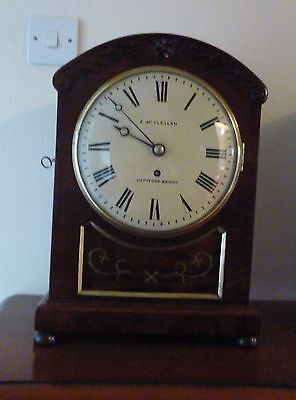 A FINE SINGLE FUSSEE BRACKET CLOCK c1840 WITH BRASS INLAY