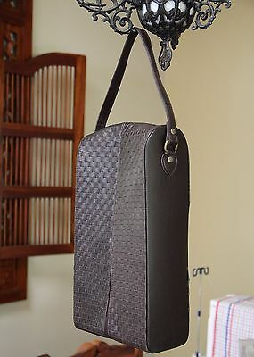 Brown PU Leather Zip Wine Tote Bag Carrier for 2 Bottles