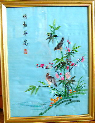 Vintage Chinese Silk embroidery picture birds and flowers