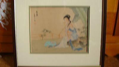 Stunning Signed Vintage Chinese painting on silk Lady musician with  instrument